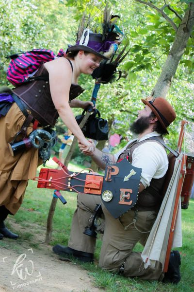 Steampunk proposal at Time Traveler's Weekend at the Pennsylvania Renaissance Faire.