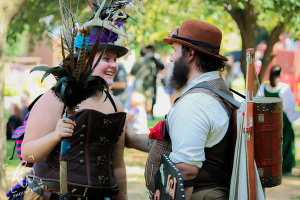 Steampunk couple at Time Traveler's weekend.
