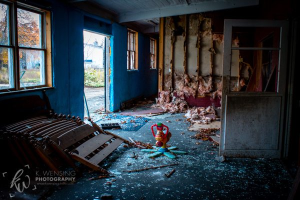 Abandoned and destroyed recreation center.