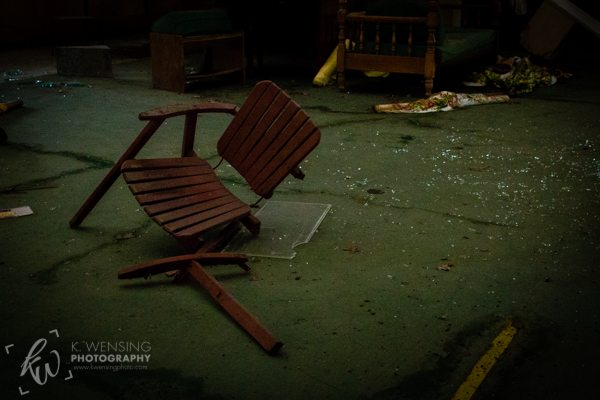 A broken chair.