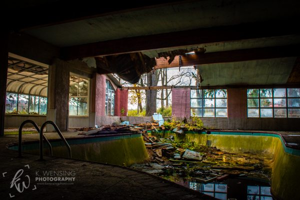 An abandoned swimming pool.