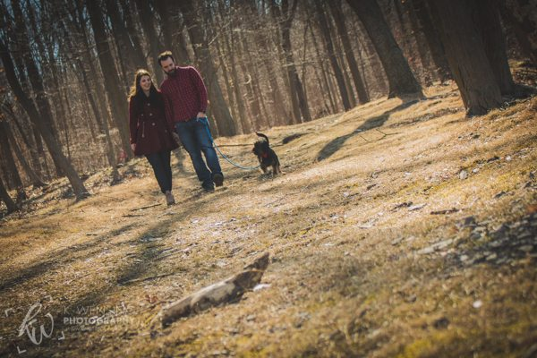 Couple out for a walk with their dog at Green Lane Park in Pennsylvania.