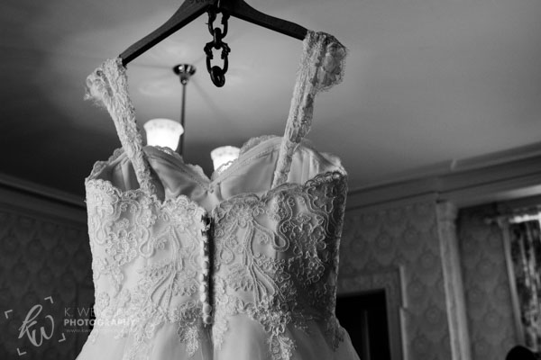 Details of the bride's dress.