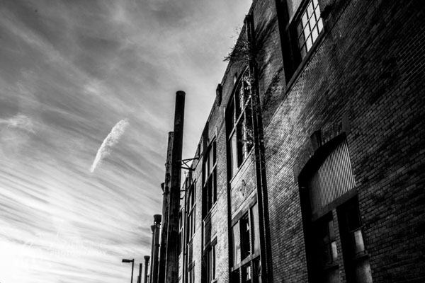 Black and white photo of a building at Bethlehem Steel, Pennsylvania.