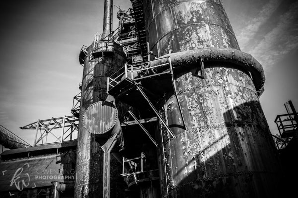 Black and white close up of one of the steel stacks at Bethlehem Steel.